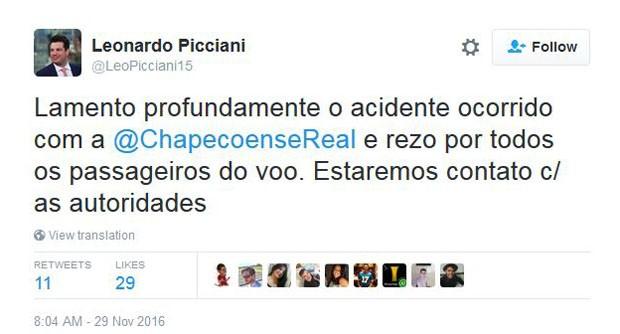 Ministro do Esporte, Leonardo Picciani, lamenta acidente com a Chapecoense (Foto: Reprodução)
