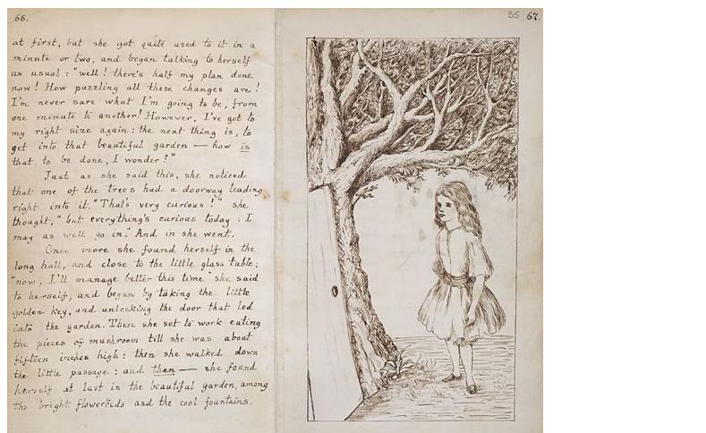 Carroll criou a famosa história para entreter a filha de um amigo (a Alice original). A garota gostou tanto que pediu que ele escrevesse um livro com o relato - e foi esse o resultado (Foto: biblioteca britânica)