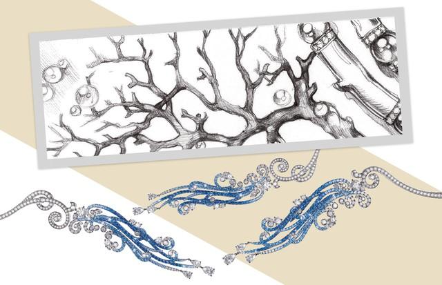 Colar Tesori del Mare, com ondas destacáveis de espinélios e safiras azuis (Foto: Shutterstock, Divulgação e Reprodução Instagram)
