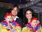 Natália Guimarães e Leandro fazem festa de um ano para gêmeas