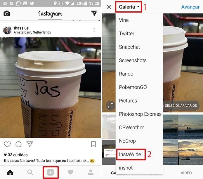 Toque no botão de publicar fotos no Instagram e procure pelo álbum do InstaWide (Foto: Reprodução/Elson de Souza)