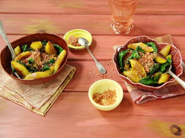 [Cozinha Prtica] Nhoque de banana com couve rstica e farofinha de bacon (Foto: Editora Panelinha/Gilberto Jr)