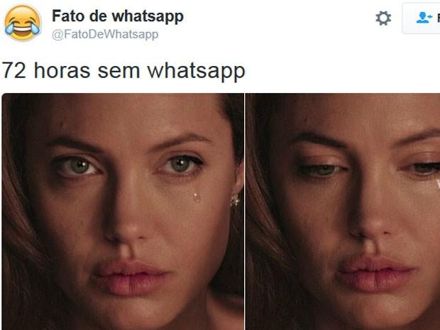 Perfil no Twitter Fatos de Whatsapp publicou fotos de Angelina Jolie para lamentar bloqueio (Foto: Reprodução/Twitter/Fatos de Whatsapp)