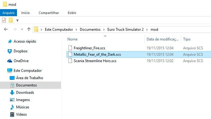 Extraia os arquivos .scs para a pasta Meus Documentos/Euro Truck Simulator 2/Mod (Foto: Reprodução/Tais Carvalho)