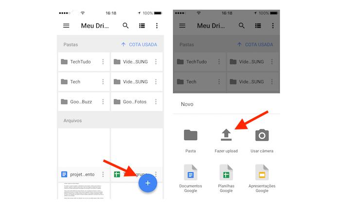 Acesso à ferramenta de upload de fotos do Google Drive para iPhone (Foto: Reprodução/Marvin Costa)