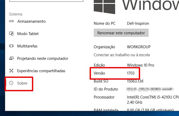 Verifique se o PC está com o Windows 10 Creators (Foto: Reprodução/Paulo Alves)
