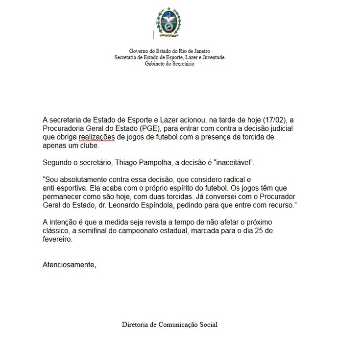 Nota da Secretaria de Esporte e Lazer sobre torcida única nos clássicos (Foto: Divulgação)