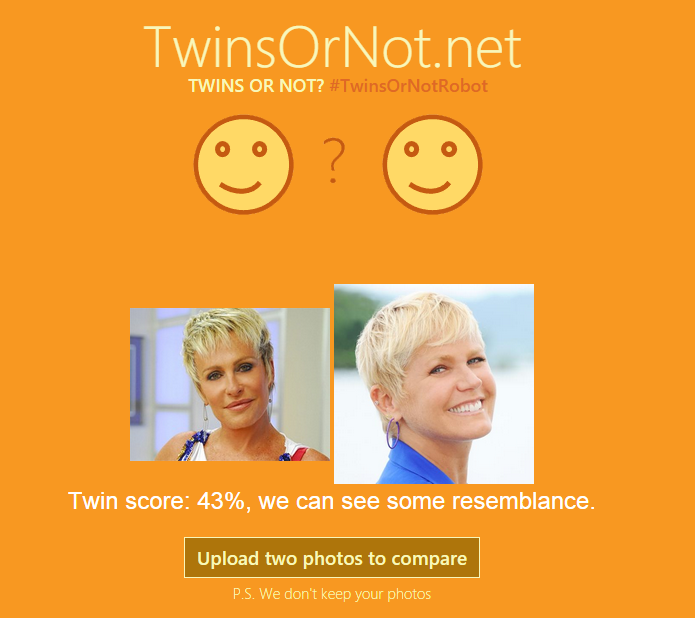 Site da Microsoft analisa fotos e descobre quão parecidas são duas pessoas (Foto: Reprodução/Microsoft)