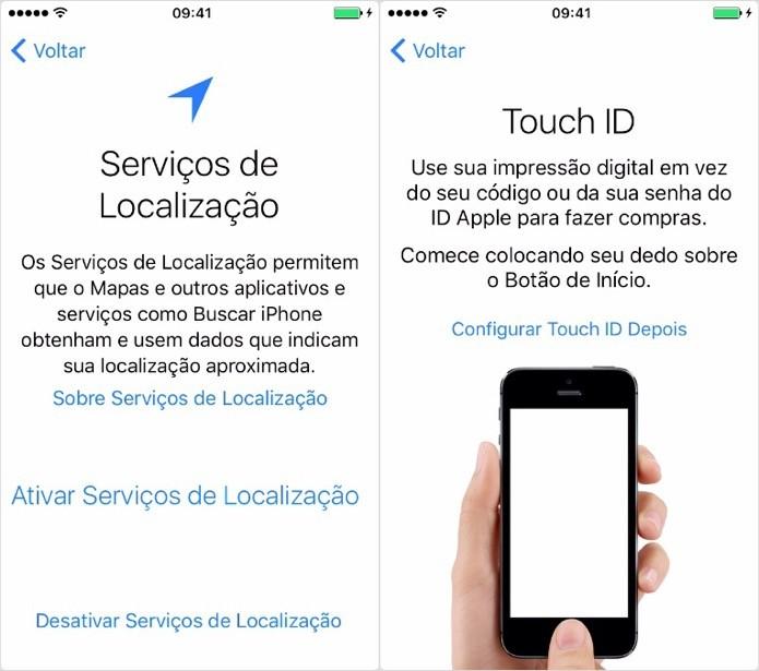 Configure os serviços de localização e Touch ID (Foto: Reprodução/Helito Bijora)
