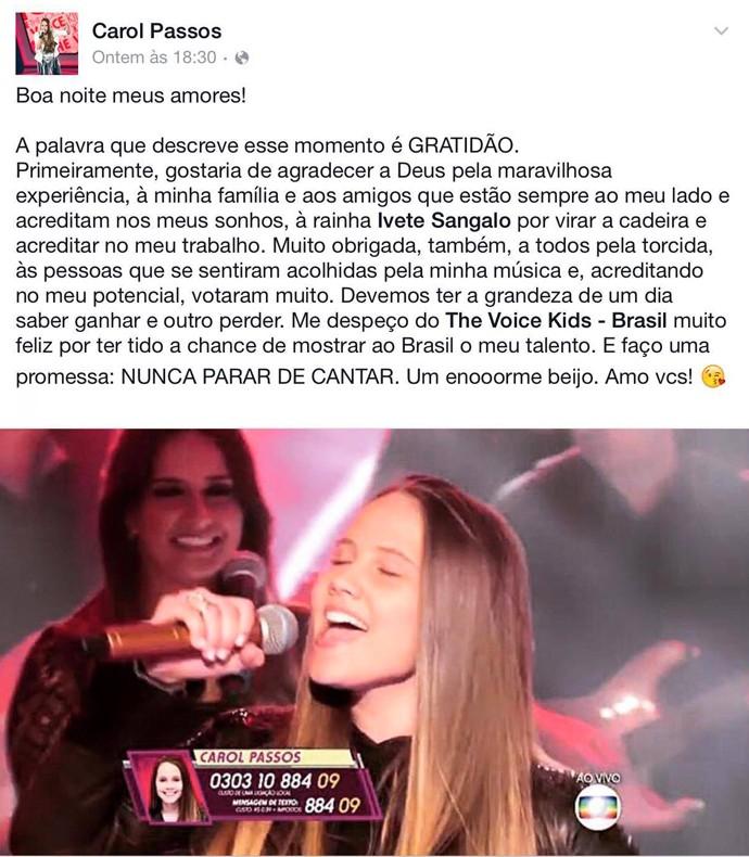 Carol Passos The Voice Kids gratidão no Facebook  (Foto: Reprodução/Redes sociais)
