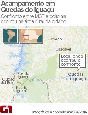 Confronto entre MST e polícia deixa mortos e feridos em Quedas do Iguaçu (Foto: Arte / G1)