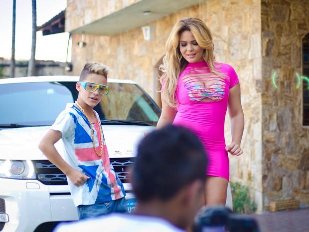 Geisy Arruda grava clipe com MC Du (Foto: Ricardo Carvalho / Ag. Fio Condutor)