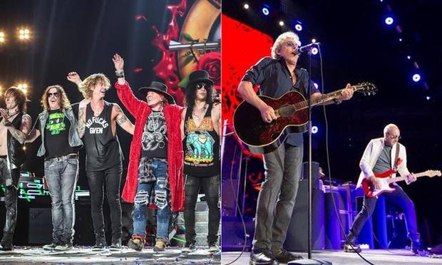 Guns n Roses e The Who (Foto: Reprodução/Facebook)