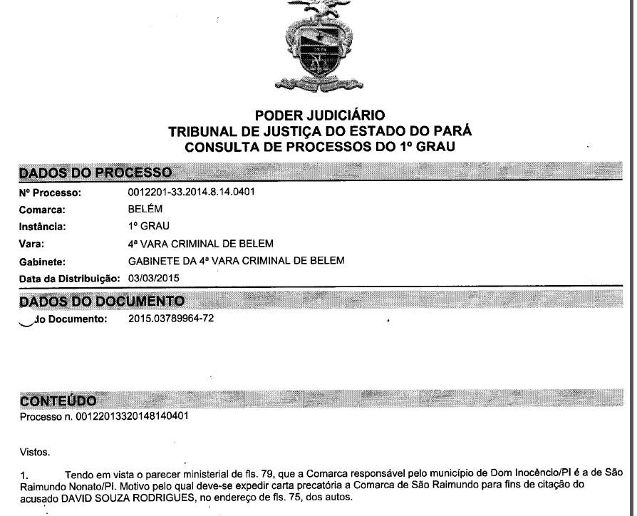 Documento mostra expedição da Carta Precatória para o aposentado do Piauí (Foto: Agnaldo Macedo/Arquivo Pessoal)
