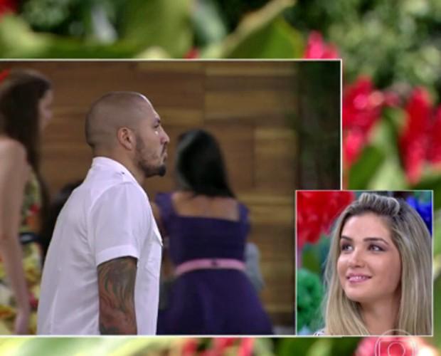 No Mais Você, Aline revê imagens de Fernando na casa do BBB (Foto: TV Globo)