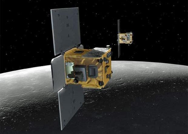 Ilustração mostra Ebb e Flow orbitando a Lua (Foto: Nasa)