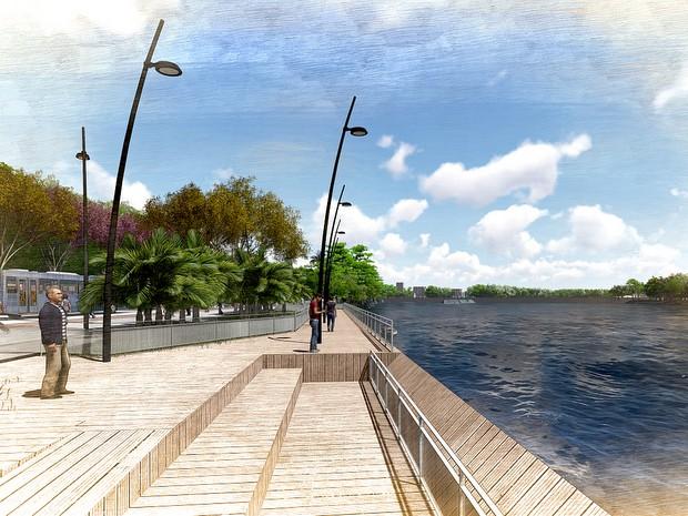Segunda fase do projeto prevê a construção de três decks com avanço ao Rio Piracicaba (Foto: Prefeitura de Piracicaba)
