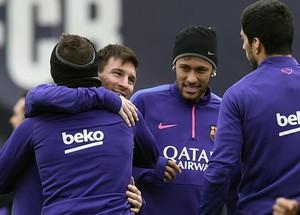 Messi, Neymar, Suarez e Jordi Alba Barcelona (Foto: AFP)