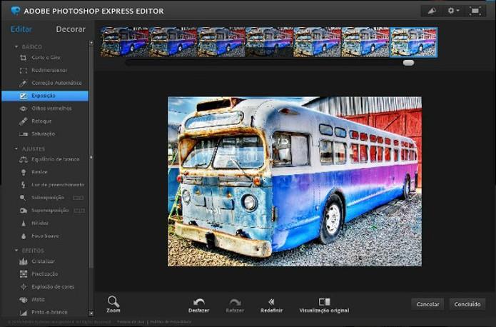 """Ferramenta """"Exposição"""" no Photoshop Express (Foto: Reprodução/Raquel Freire)"""