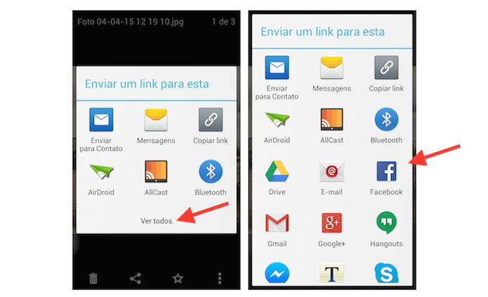 Iniciando o compartilhamento de uma foto salva no Dropbox do Android com o Facebook (Foto: Reprodução/Marvin Costa)