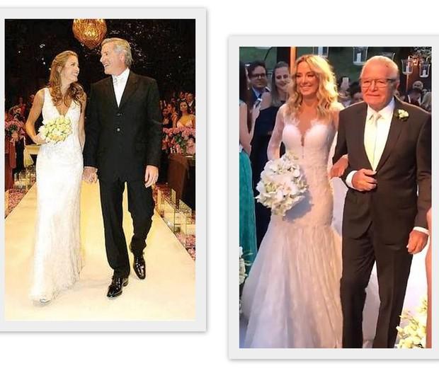 Tici com Justus em 2005 e com seu pai, no casamento com Tralli (Foto: Reprodução)