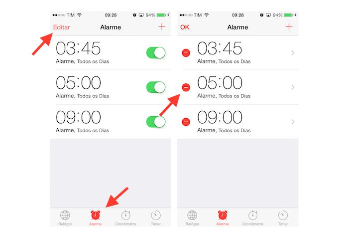 Acessando a edição de alarmes de despertador do iPhone (Foto: Reprodução/Marvin Costa)