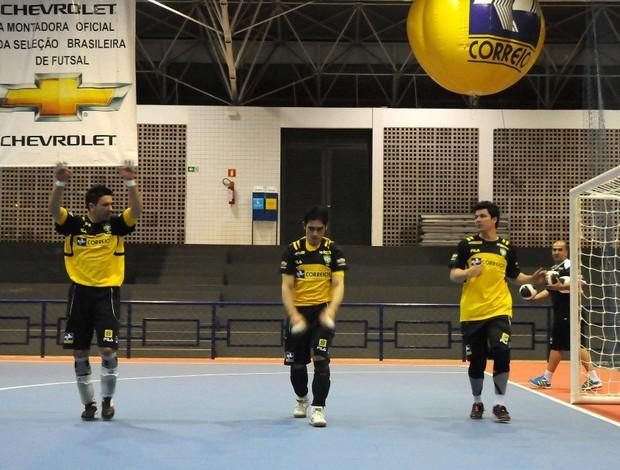 Franklin, Tiago e Guitta, goleiros da seleção brasileira (Foto: Luciano Bergamaschi/CBFS)