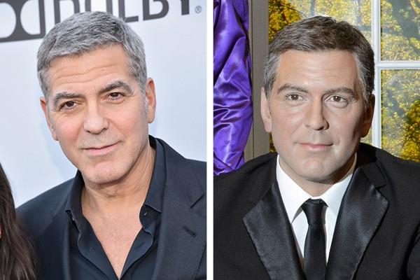 George Clooney e à sua direita, sua estátua de cera (Foto: Getty Images / Arquivo Pessoal)