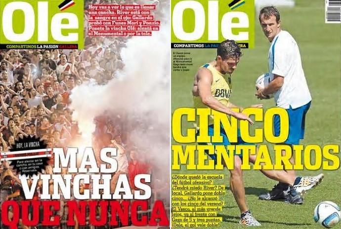 BLOG: Com duas capas, Olé festeja duelo de ida entre Boca e River na Libertadores