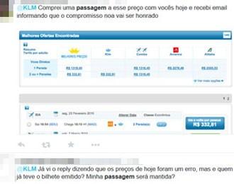 Consumidores reclama que tiveram compra de passagem cancelada pela KLM  (Foto: Reprodução/Twitter)