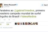 "Presidente Dilma parabeniza Medina pelo t�tulo mundial: ""Orgulho do Brasil"""