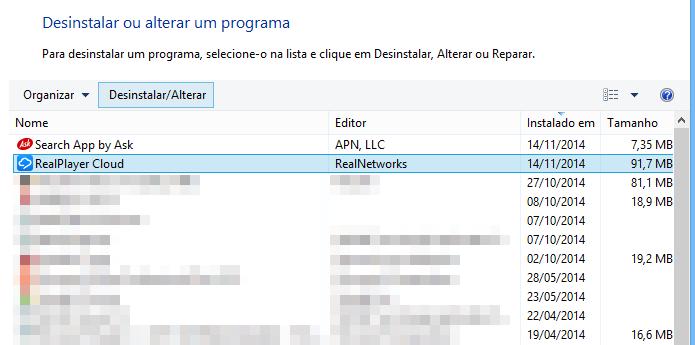 Desinstalando o RealPlayer Cloud (Foto: Reprodução/Helito Bijora)