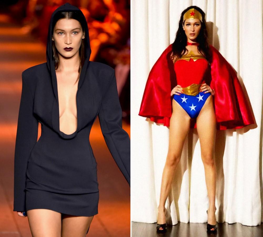 Dark na passarela da DKNY vs. a la Mulher Maravilha para a revista Love (Foto: Getty Images e Reprodução/Love Magazine)