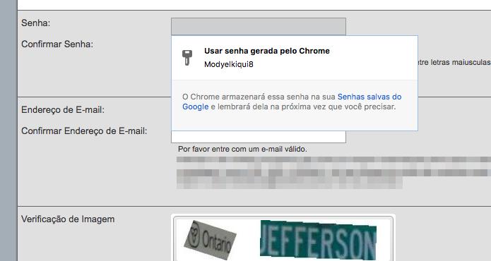 Usando o gerador de senhas do Chrome (Foto: Reprodução/Helito Bijora)