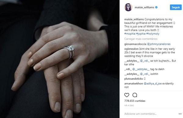 Williams compartilhou imagem com as mãos de Sophie Turner e Joe Jonas em referência ao noivado casal  (Foto: Reprodução/Twitter)