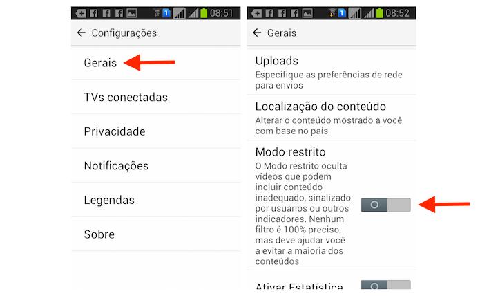 Ativando o Modo Restrito do YouTube em um dispositivo Android (Foto: Reprodução/Marvin Costa)