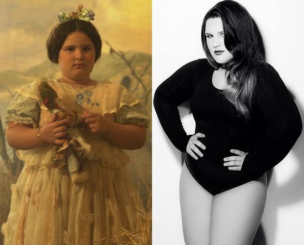 Taynná Pina em 'Hoje é Dia de Maria' e em pose como modelo plus size (Foto: Gianne Carvalho / TV Globo e Arquivo Pessoal)