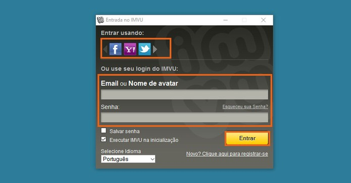 Faça o login usando a rede social ou e-mail com senha cadastrados (Foto: Reprodução/Barbara Mannara)