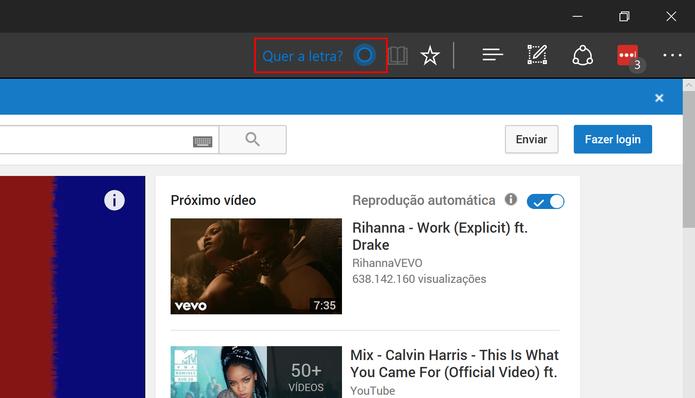 Microsoft Edge oferece letras para o usuário com botão na barra de endereço (Foto: Reprodução/Elson de Souza)
