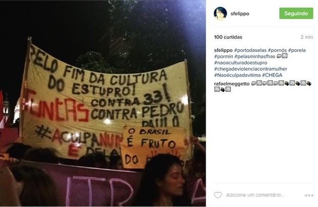 Samara Felippo protesta contra a cultura do estupro (Foto: Reprodução/Instagram)