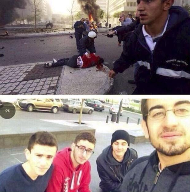Mohammad al-Chaar (com a blusa vermelha) morreu momentos depois após tirar foto em grupo em explosão de carro-bomba em Beirute, no Líbano (Foto: Reprodução/Twitter/Abdallah Jibai)