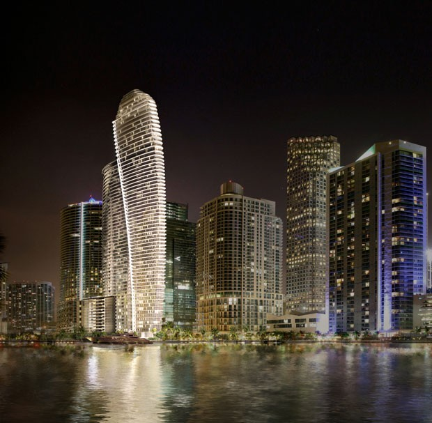 O edifício da Aston Martin, em forma de veleiro, terá 66 andares (Foto: Divulgação)