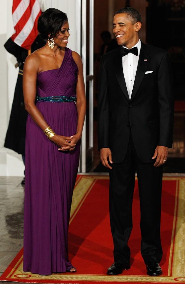 Michelle Obama e Barack Obama recebem o primeiro ministro coreano,  Lee Myung-bak, em 2011 (Foto: Getty Images)
