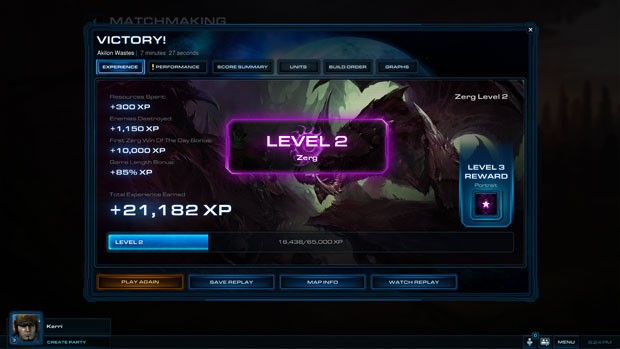 Ganhando ou perdendo, jogador ganha pontos nas partidas on-line de 'Starcraft II: Heart of the Swarm' (Foto: Divulgação)