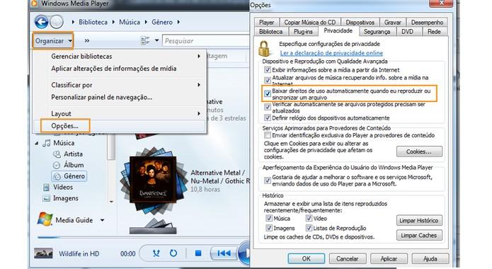 Direitos de reprodução digital pelo Windows Media Player (Foto: Reprodução/Barbara Mannara)