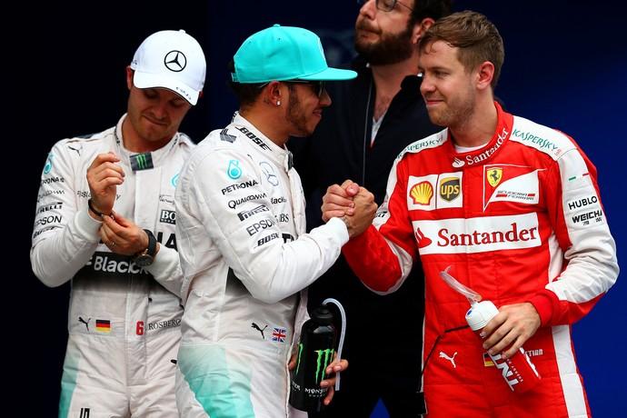 Rosberg, Hamilton e Vettel, treino Malásia (Foto: Getty Images)