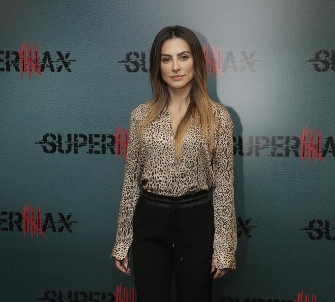 Cleo Pires participa do lançamento de Supermax em evento no Rio (Foto: Artur meninea / Gshow)