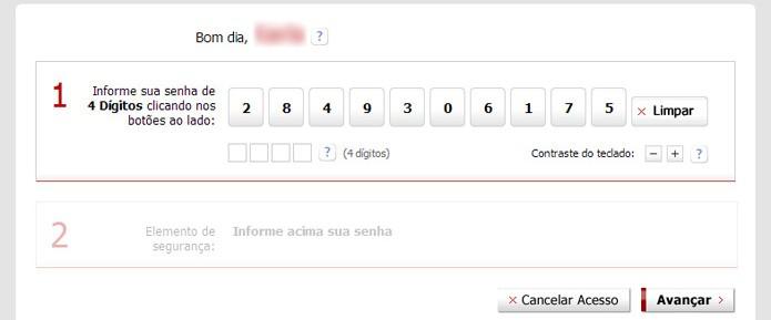 O Internet Banking do Bradesco conta com teclado virtual para a segurança do usuário (Foto: Reprodução/Karla Soares)