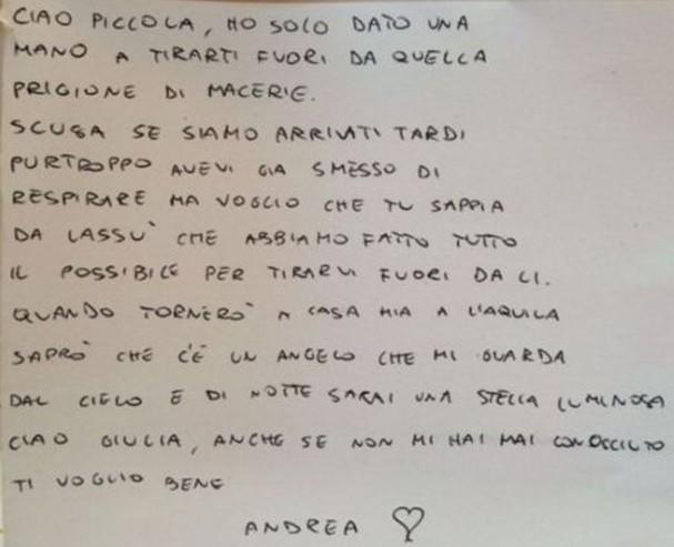Bombeiro deixa carta para menina que não conseguiu salvar em terremoto na Itália (Foto: Reprodução)