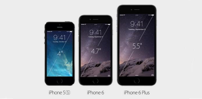 Fila dos iPhones1 (Foto: iPhone 6 tem tela grande 47 polegadas mas versão Plus tem de 55 polegadas FullHD (Foto: Divulgação))